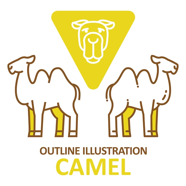 Kamel umriss stil. Premium Vektoren