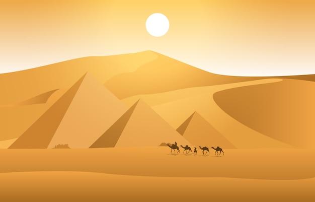 Kamelkarawane, die ägypten-pyramiden-wüsten-arabische landschaftsillustration kreuzt Premium Vektoren