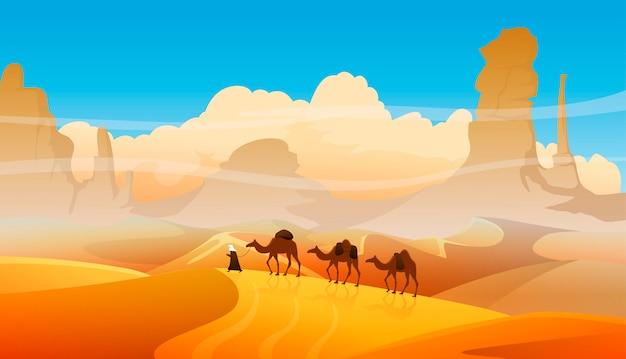 Kamelwohnwagen mit arabischen leuten in der wüstenlandschaft Premium Vektoren