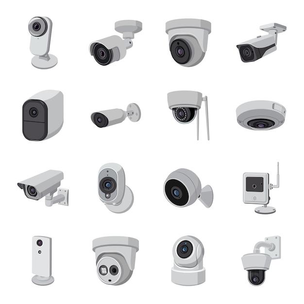 Kamera-cartoon-icon-set. Premium Vektoren