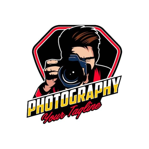 Kamera fotografie logo abzeichen Premium Vektoren