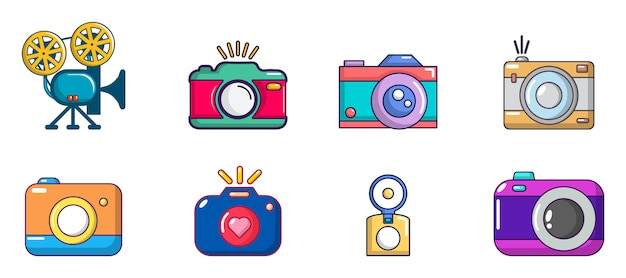 Kamera-icon-set. karikatursatz kameravektorikonen eingestellt lokalisiert Premium Vektoren
