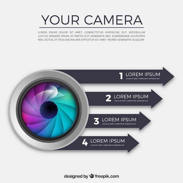 Kamera-infografik Kostenlosen Vektoren