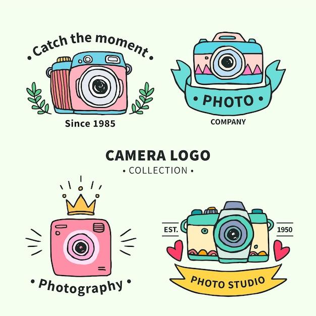 Kamera-logo-sammlung hand gezeichnet Kostenlosen Vektoren