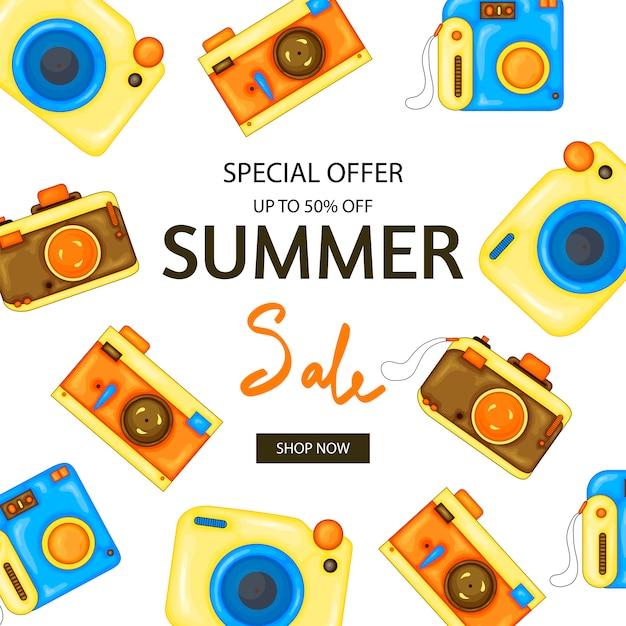 Kamera sommer flyer Premium Vektoren