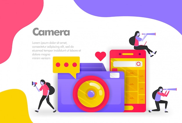 Kamera- und bildsuche auf mobilem banner Premium Vektoren