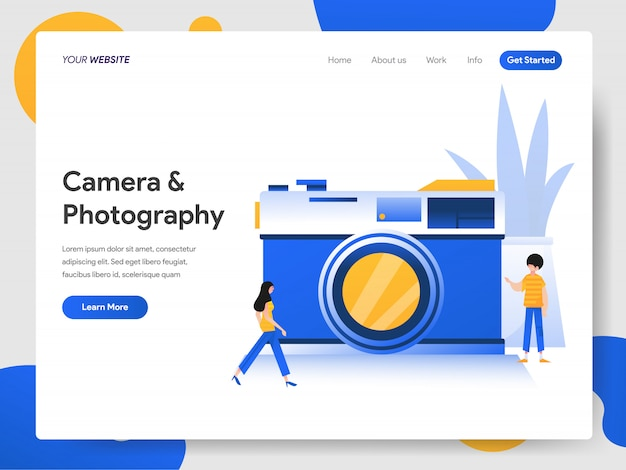 Kamera und fotografie-konzept Premium Vektoren