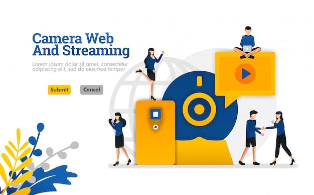 Kamera- und streamingnetz, digitales internet-video und medienentwicklung vector illustration Premium Vektoren