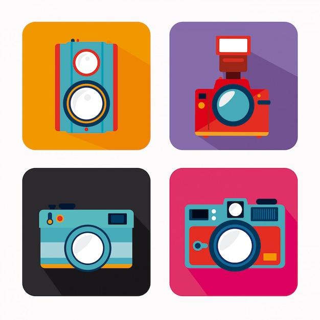 Kameradesign über weißer hintergrundvektorillustration Premium Vektoren
