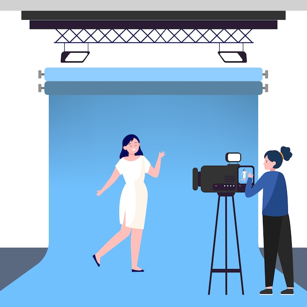 Kamerafrau arbeitet mit model im studio Kostenlosen Vektoren