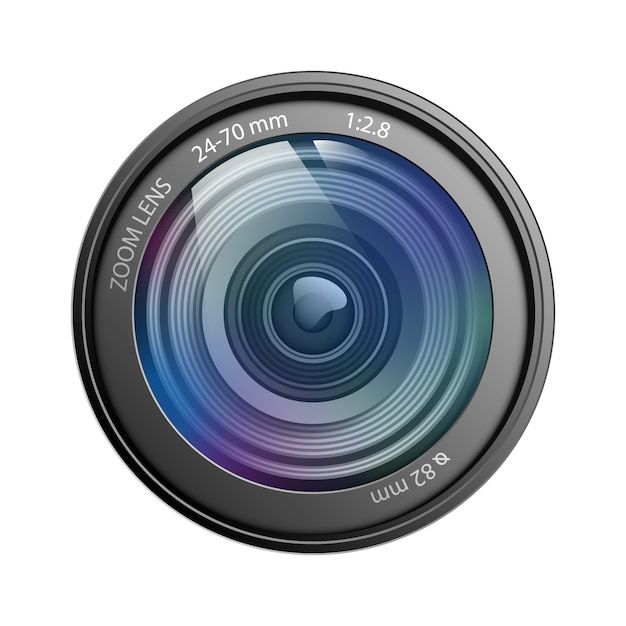 Kameraobjektiv lokalisiert auf weißer hintergrundvektorillustration Premium Vektoren