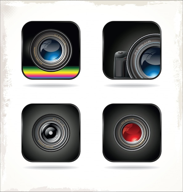 Kameraobjektiv-symbol Premium Vektoren