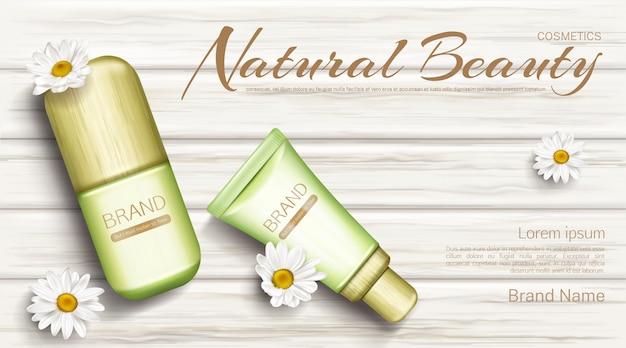 Kamille eco kosmetik flaschen banner Kostenlosen Vektoren