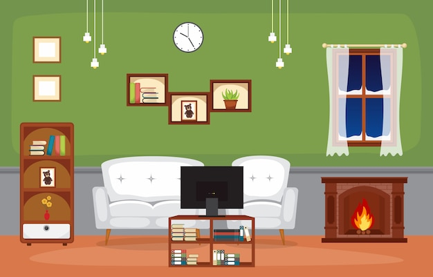 Kamin-wohnzimmer-familienhaus-innenmöbel-vektor-illustration Premium Vektoren