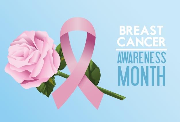 Kampagnenplakat des brustkrebsbewusstseinsmonats mit bandrosa und rose Premium Vektoren