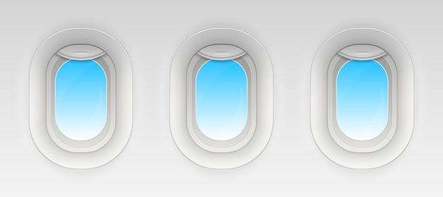 Kampf flugzeugfenster, leere bullaugen. Premium Vektoren