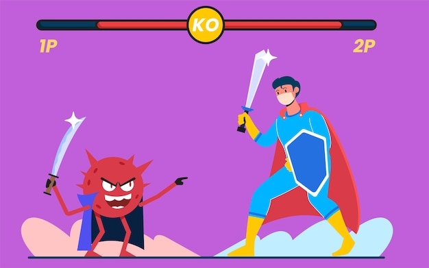 Kampf gegen virenangriffe, modernes designkonzept für flache illustrationen für webseiten oder hintergründe Premium Vektoren