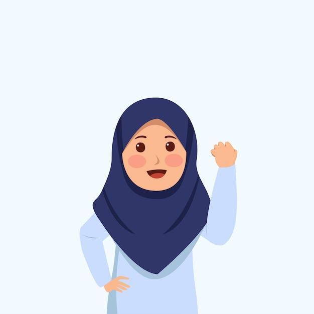 Kampf geste ausdruck wenig hijab mädchen niedlichen cartoon Premium Vektoren