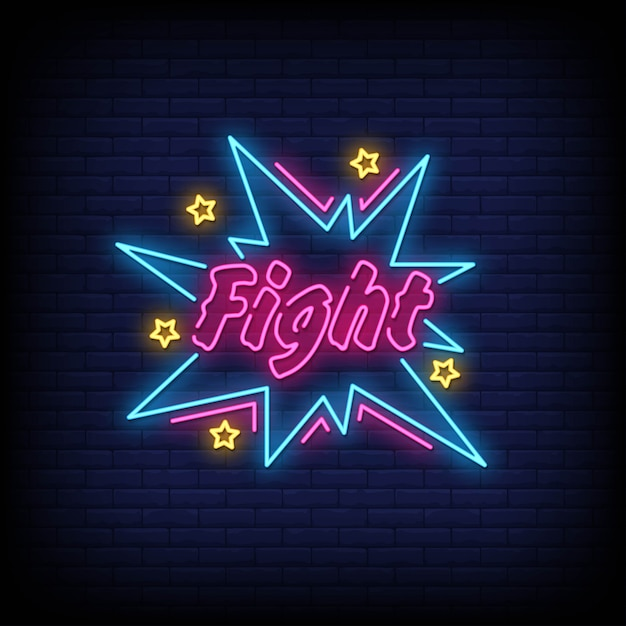 Kampf neon signs style Premium Vektoren