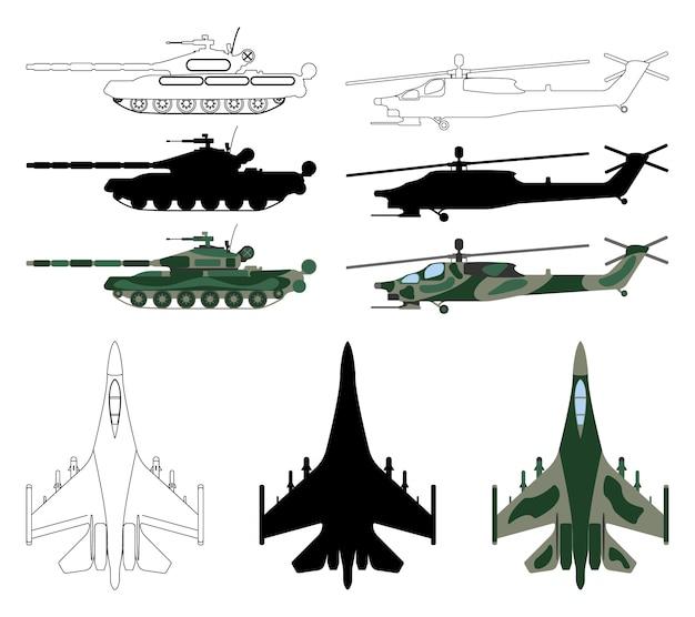 Kampfflugzeug, panzer, hubschrauber in silhouette isoliert cartoon-stil. Premium Vektoren