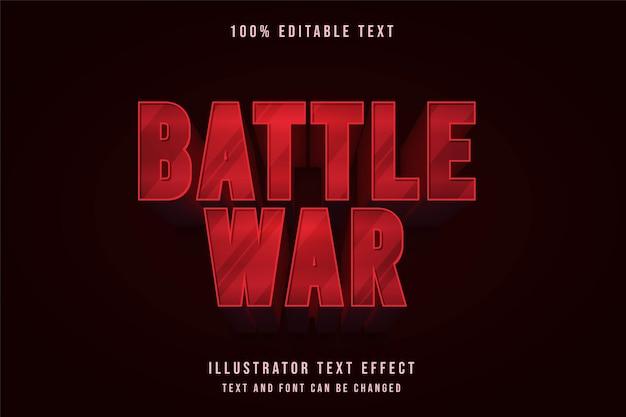 Kampfkrieg, 3d bearbeitbarer texteffekt moderner roter abstufungstextstil Premium Vektoren