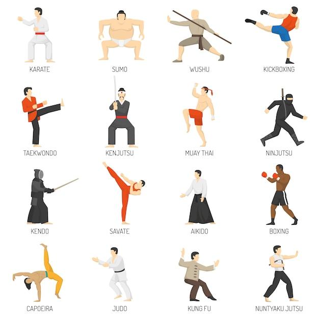 Kampfkunst-dekorative flache ikonen eingestellt Kostenlosen Vektoren