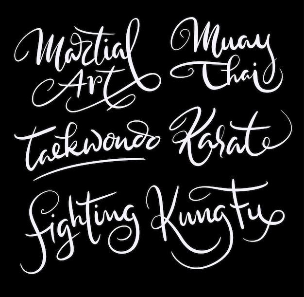 Kampfkunst und kung fu handschrift kalligraphie Premium Vektoren