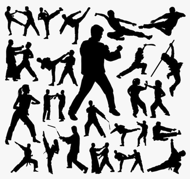 Kampfkunst und kung fu silhouette. Premium Vektoren