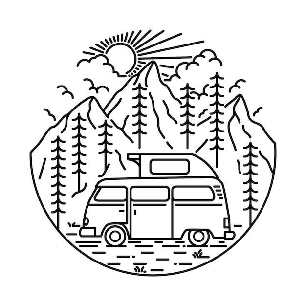 Kampieren, kletternde gebirgsnatur-illustration wandernd Premium Vektoren