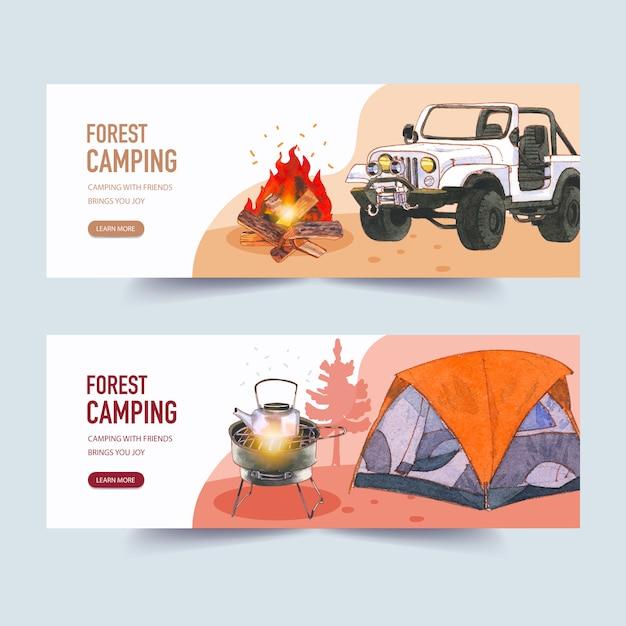 Kampierende fahne mit lagerfeuer-, auto- und zeltillustrationen Kostenlosen Vektoren