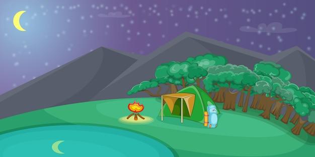 Kampierende horizontale hintergrundnacht, karikaturart Premium Vektoren