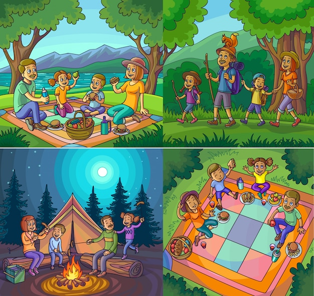 Kampierender glücklicher familienferien-wanderungs-picknicksatz. Premium Vektoren