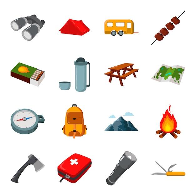 Kampierender karikaturvektor-ikonensatz. vektor-illustration camping. Premium Vektoren