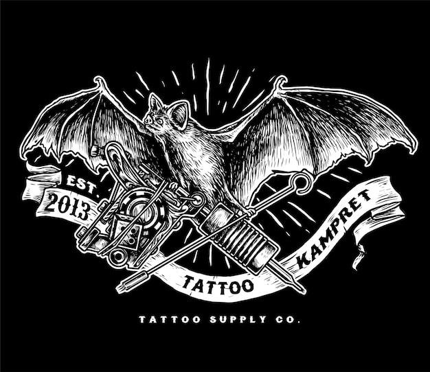 Kampret-tattoo-versorgungslogo Premium Vektoren