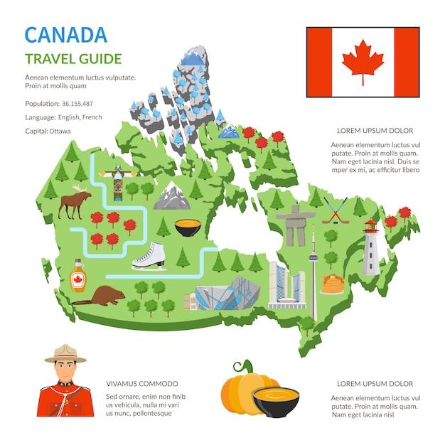Kanada-reiseführer-flaches karten-plakat Kostenlosen Vektoren