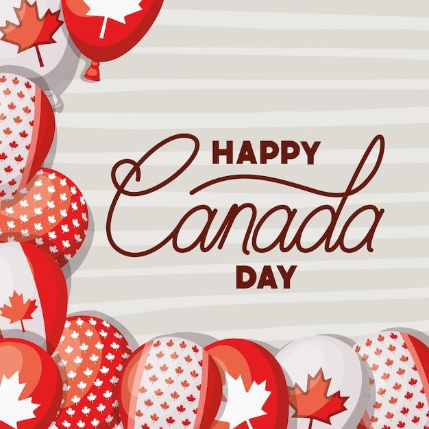 Kanada-tag mit ahornblattkarte Kostenlosen Vektoren