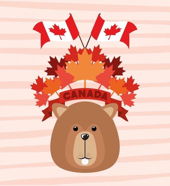 Kanada-tag mit biber und ahornblatt Kostenlosen Vektoren