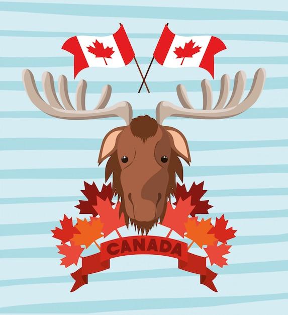 Kanada-tag mit elch und ahornblatt Kostenlosen Vektoren