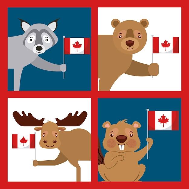 Kanada-tagesfahne Premium Vektoren