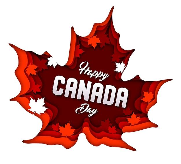 Kanada-tageshintergrund. papierkunst mit ahornblättern Premium Vektoren