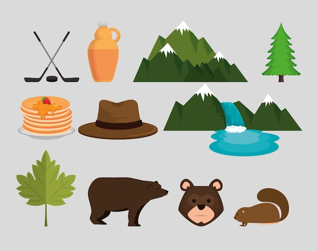 Kanadische kultur gesetzt icons vektor-illustration design Premium Vektoren
