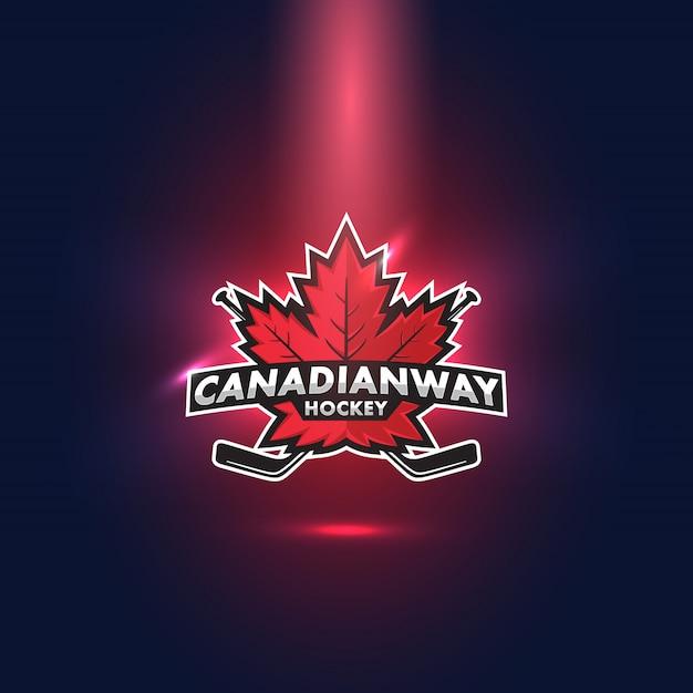 Kanadisches hockey-ahornblatt-esports-logo Premium Vektoren