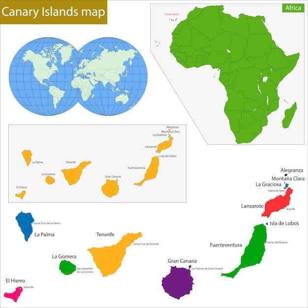 Kanarische Inseln Karte Premium Vektor