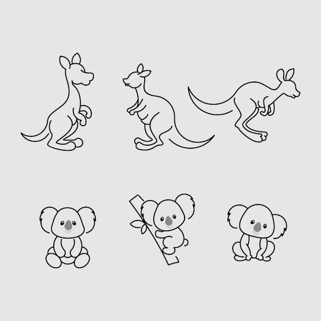Kangaroo koala linie symbol design für australien tag Premium Vektoren