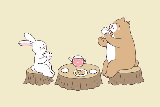 Kaninchen-bärentee-zeitvektor der karikatur netter. Premium Vektoren