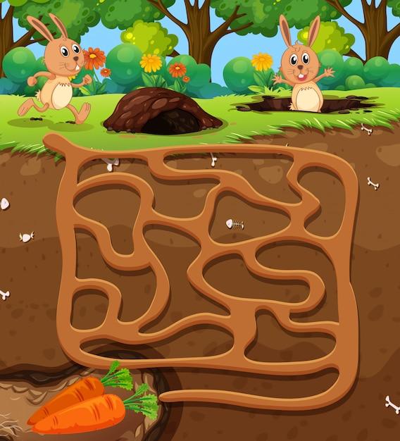 Kaninchen karotte labyrinth spiel finden Premium Vektoren