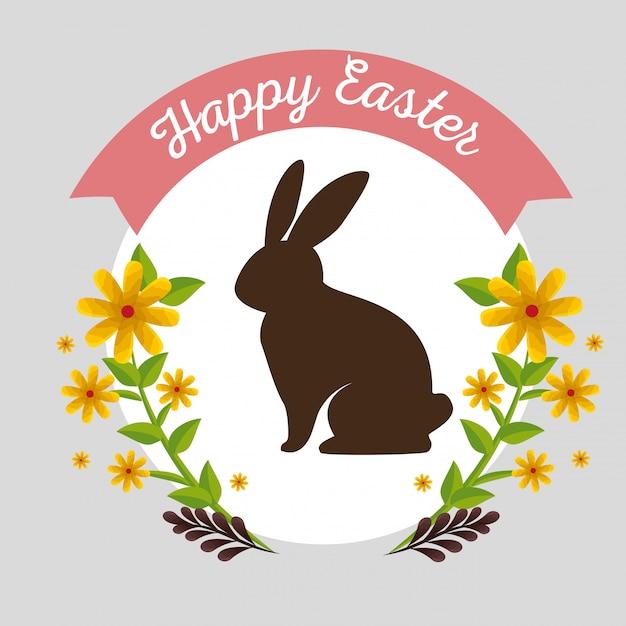 Kaninchen mit blumenanlagen und niederlassungsblättern Kostenlosen Vektoren