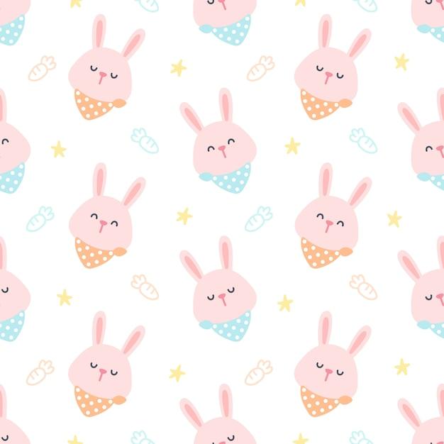 Kaninchen mit nahtlosem musterhintergrund des kragens Premium Vektoren