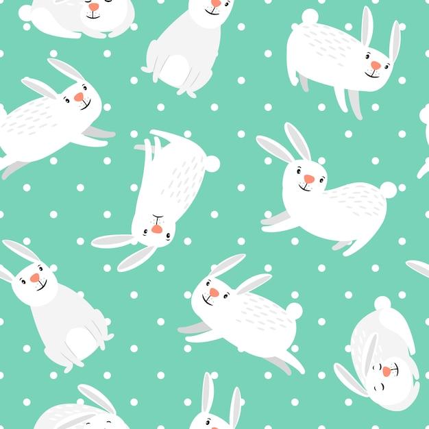 Kaninchen muster. weißes häschen auf grünem nahtlosem muster vektor-ostern Premium Vektoren