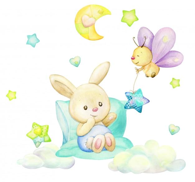 Kaninchen, schmetterling, mond, sterne, wolken, im cartoon-stil. aquarell clipart auf einem isolierten hintergrund. Premium Vektoren